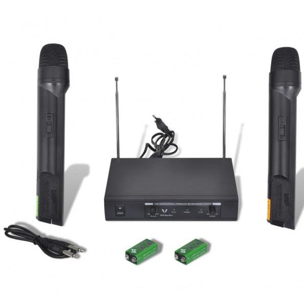 Modtager med 2 trådløse mikrofoner VHF