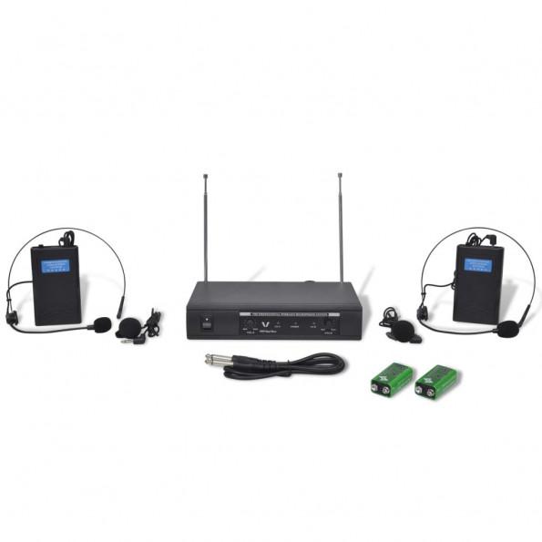 Modtager med 2 trådløse hovedtelefoner VHF