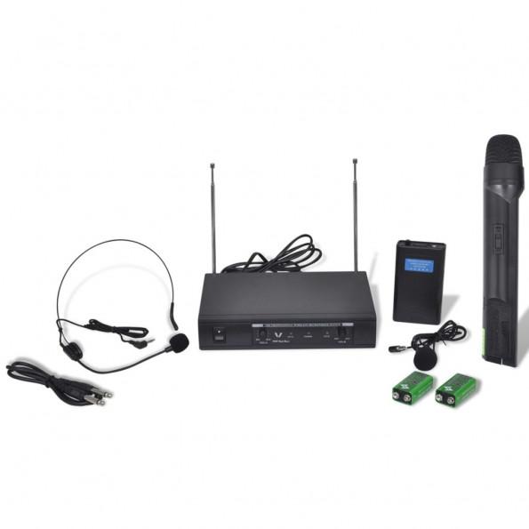 Modtager med 1 trådløs mikrofon og 1 trådløst headset VHF