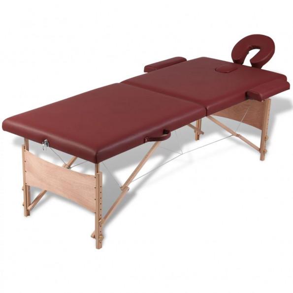 Rød sammefoldeligt massagebord, 2 zoner med træramme