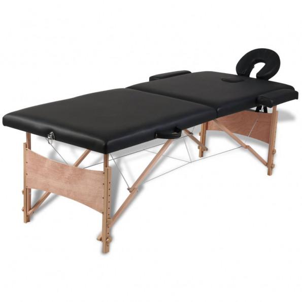 Massagebord sammenfoldeligt 2 zoner træstel sort