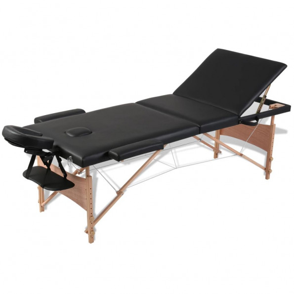 Massagebriks sammenfoldelig 3 zoner træstel sort