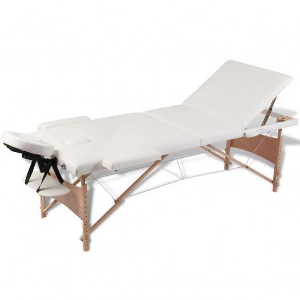 Massagebriks sammenfoldelig 3 zoner træstel cremefarvet