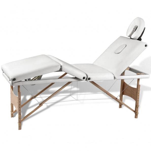 Massagebriks sammenfoldelig 4 zoner træstel cremehvid