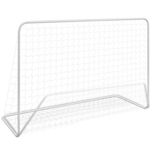 Fodboldmål med net 182 x 61 x 122 cm stål hvid