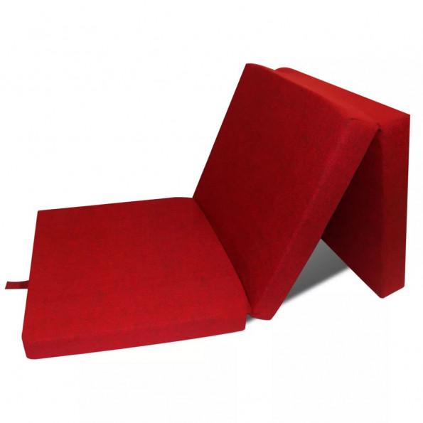 Foldeskummadras 190 x 70 x 9 cm rød