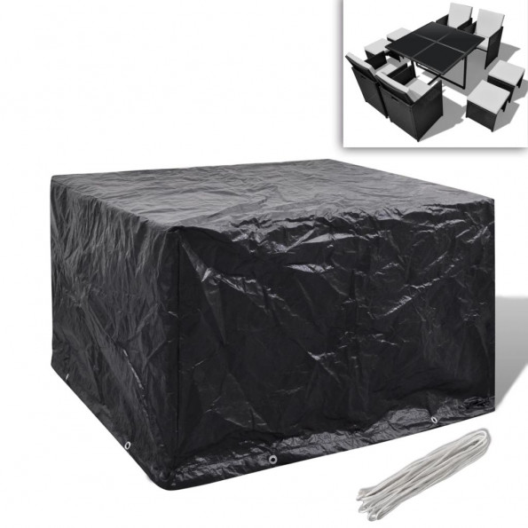 Møbelovertræk 4 pers. polyrattansæt 8 snørehuller 113 x 113 cm