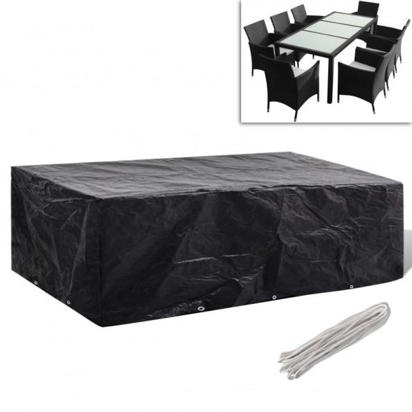 Møbelovertræk 8 pers. polyrattansæt 10 snørehuller 300 x 140 cm