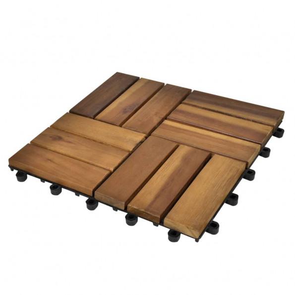 10 stk. terrassefliser i akacietræ 30 x 30 cm