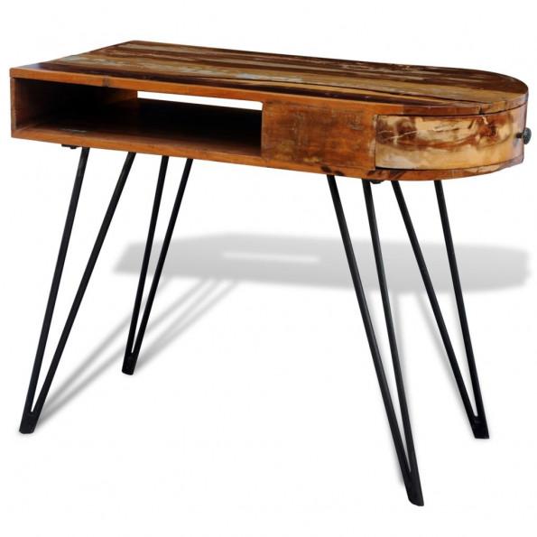 Genbrugt skrivebord i massivt træ med u-bordben i jern