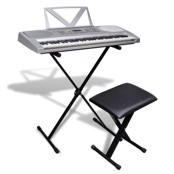 Elektronisk keyboard m. 61 tangenter + justérbart stativ og stol