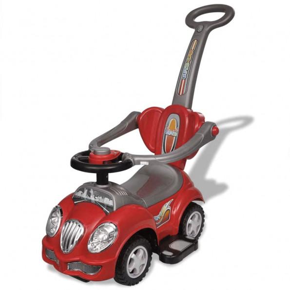 Bil til børn skubbehåndtag rød