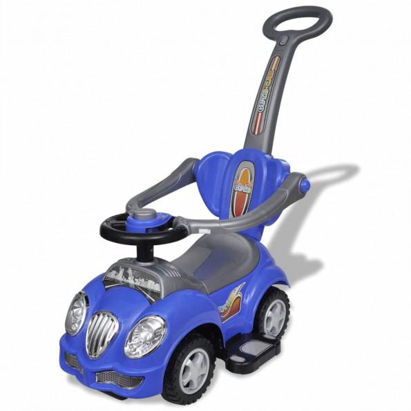 Bil til børn skubbehåndtag blå