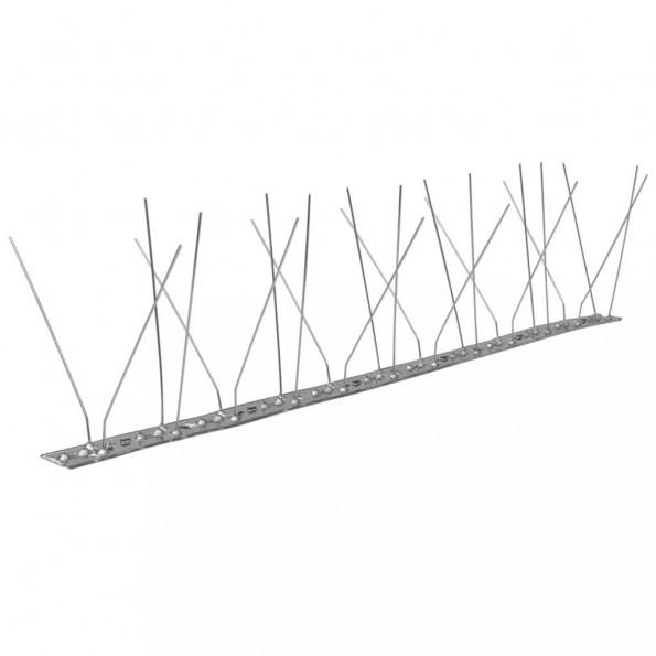Fugle- og duepigge i 4 rækker, rustfrit stål, sæt med 6 stk.