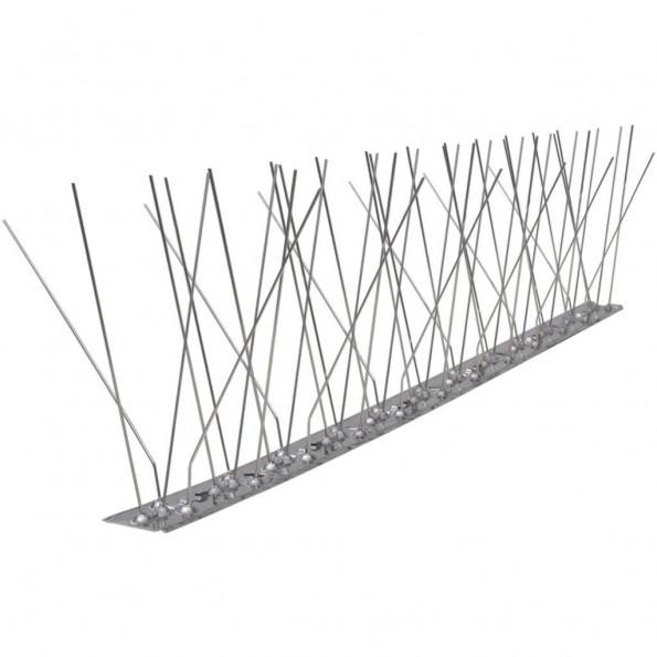 Fugle- og duepigge i 5 rækker, rustfrit stål, sæt med 6 stk.