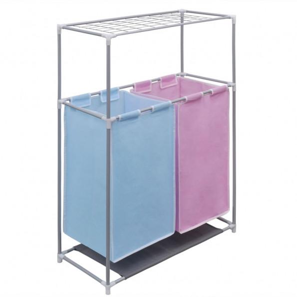 2-sektions fordelt vasketøjskurv med tophylde til tørring