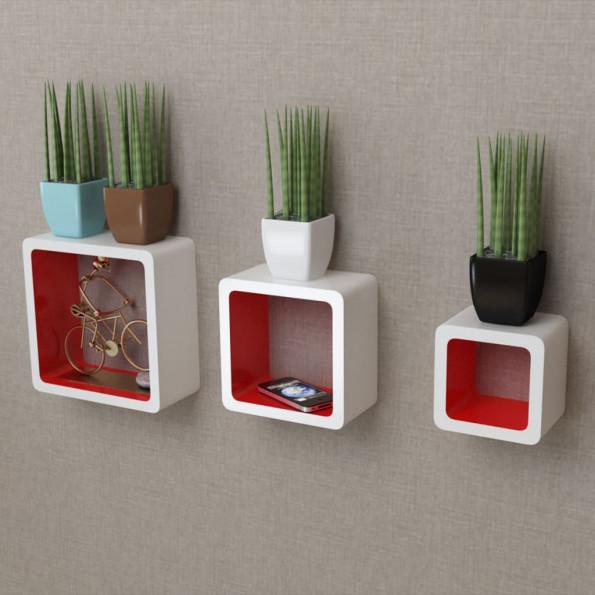 3 Hvid-rød MDF svævende vægdisplay kuber bog/DVD opbevaring