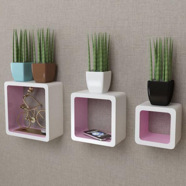 3 Hvid-pink MDF svævende vægdisplay kuber bog/DVD opbevaring