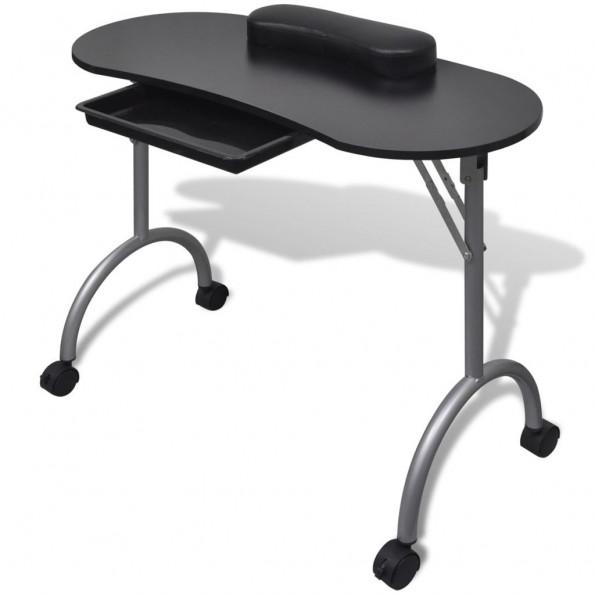 Manicurebord med hjul foldbart sort