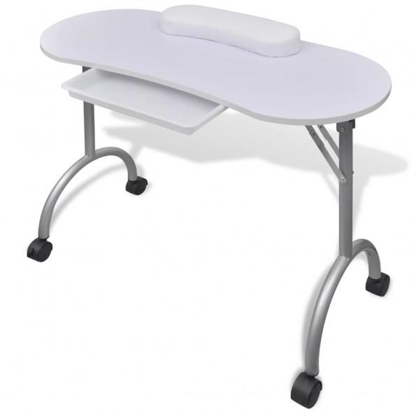Manicurebord med hjul sammenfoldelig hvid