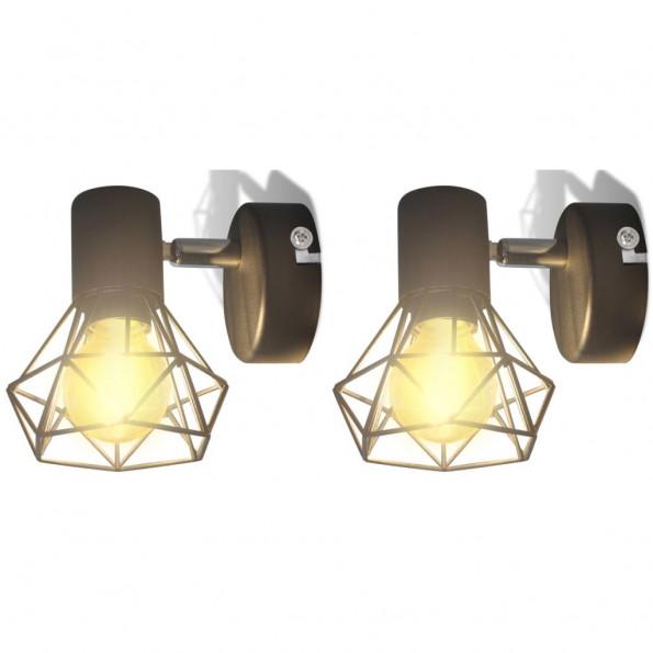 2 sorte væglamper, trådramme i industristil, m/pære med LED-glødetråd
