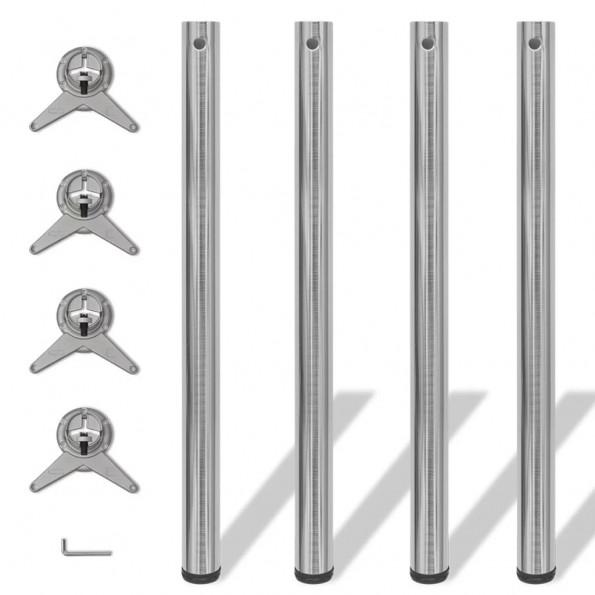 4 bordben, justerbar højde, børstet nikkel, 870 mm