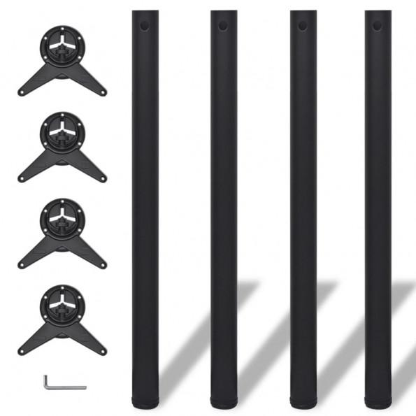 4 bordben, justerbar højde, sorte, 870 mm