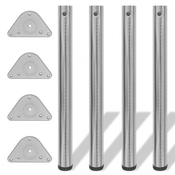 4 bordben, justerbar højde, 710 mm, børstet nikkel