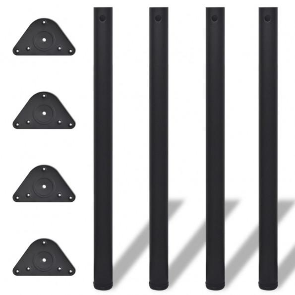 4 bordben, justerbar højde, 870 mm, sorte