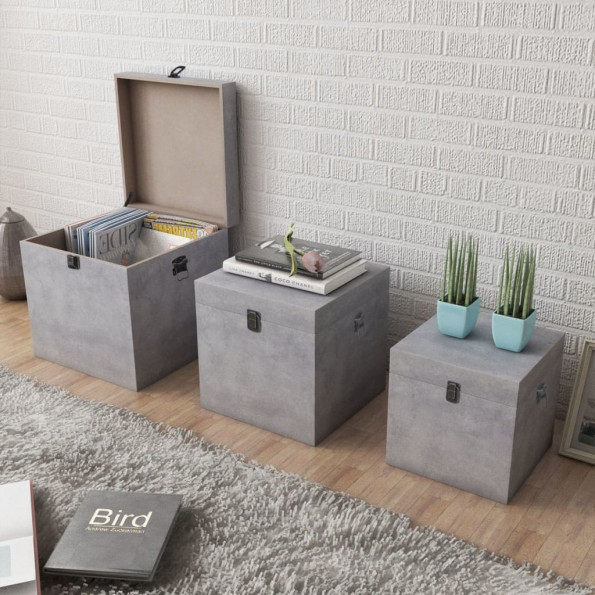Firkantet opbevaringskasse 3 stk. MDF betongrå