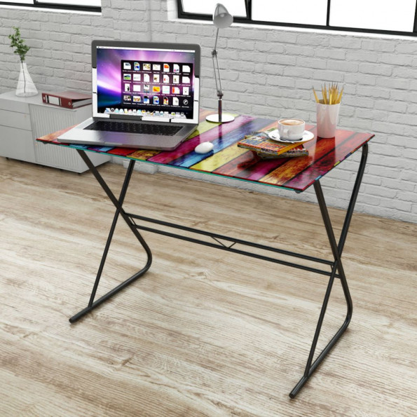 Glasskrivebord med regnbuemønster