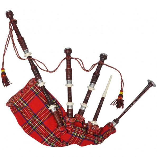 Sækkepibe skotsk rød Royal Stewart Tartan-tern