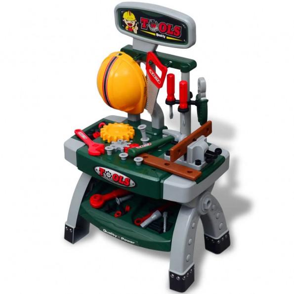 Legetøjsarbejdsbænk m. værktøj grøn og grå
