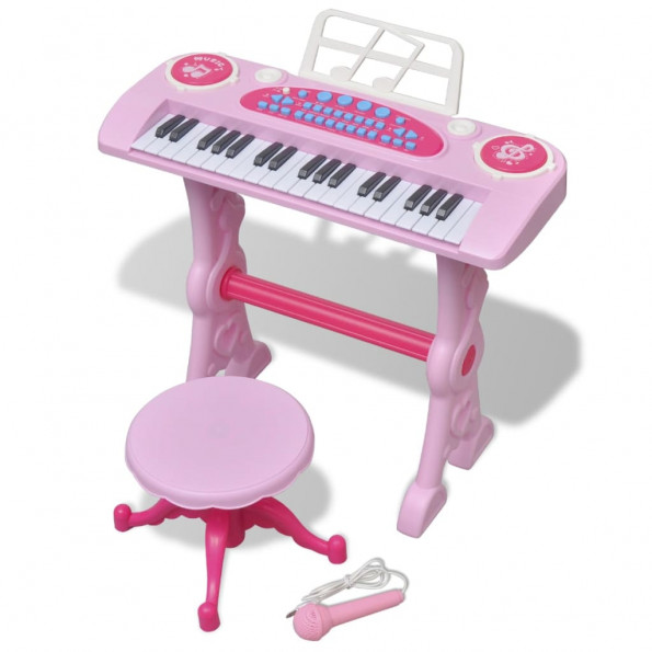 Legetøjskeyboard med skammel/mikrofon pink