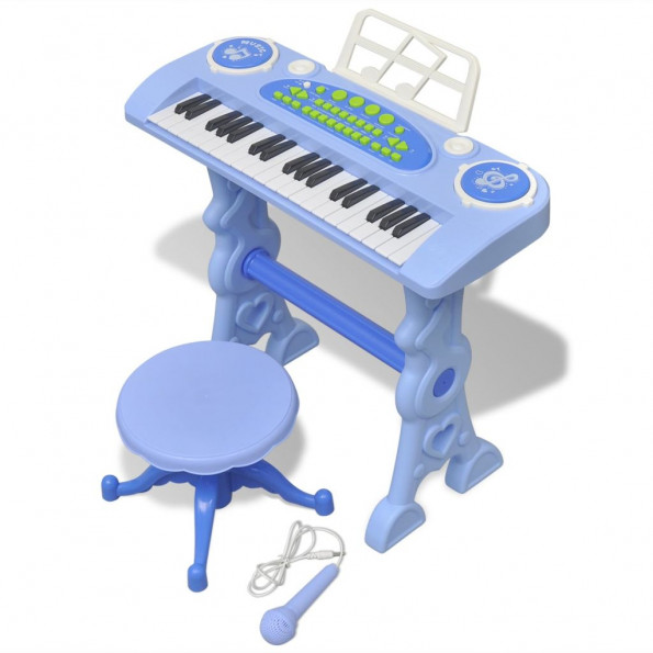 Legetøjskeyboard med skammel/mikrofon blå