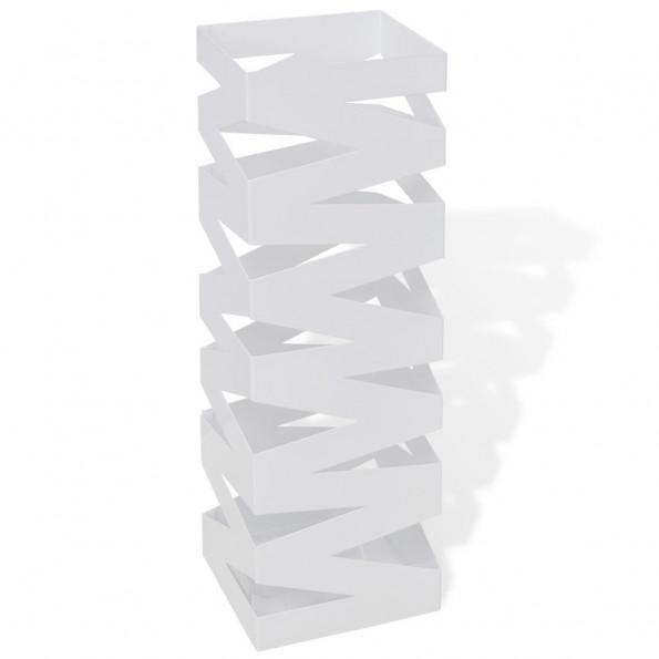 Hvid kvadratisk holder til paraplyer og stokke, stål, 48,5 cm