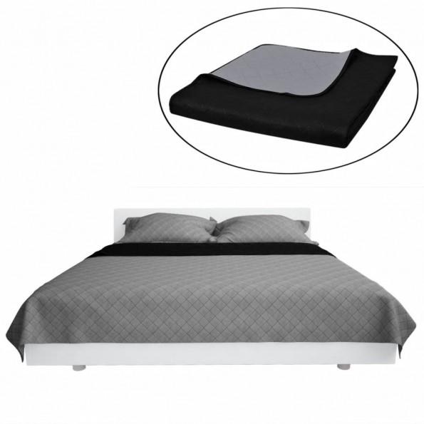 Dobbeltsidet quiltet sengetæppe 170 x 210 cm sort og grå