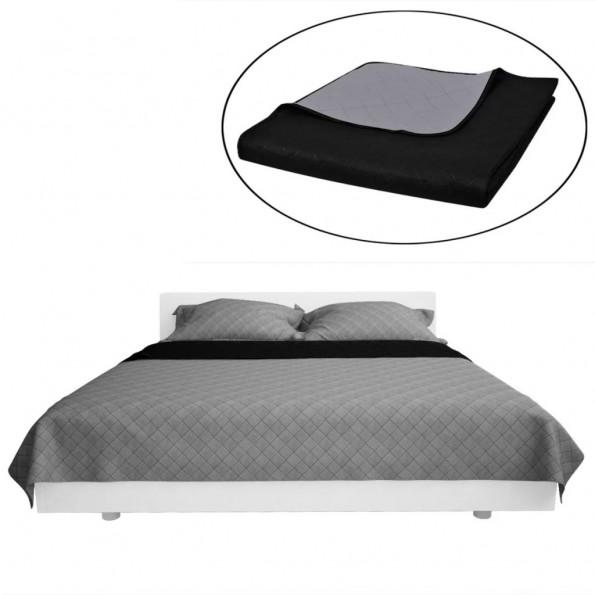 Dobbeltsidet quiltet sengetæppe sort og grå 230 x 260 cm