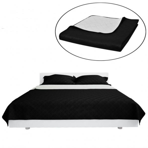 Dobbeltsidet quiltet sengetæppe sort/hvid 170 x 210 cm
