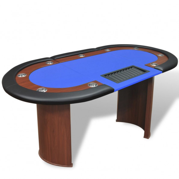 10 pers. pokerbord med dealerområde og jetonholder blå