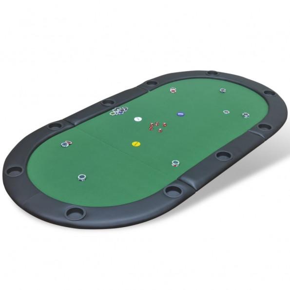 10 pers. pokerbord bordplade foldbar grøn