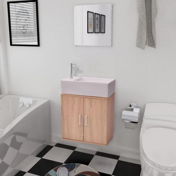 Badeværelsesmøbelsæt 3 dele beige