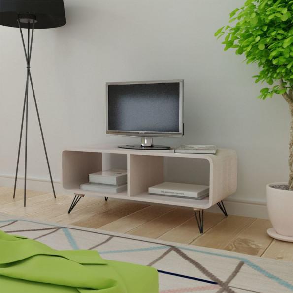 TV-bord i træ 90 x 39 x 38,5 cm grå