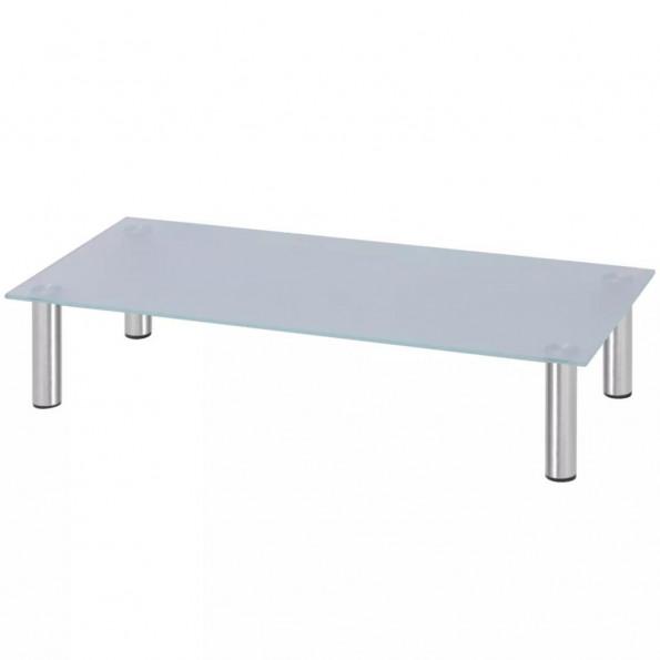 Skærmstander/TV-bord i glas 80x35x17 cm hvid