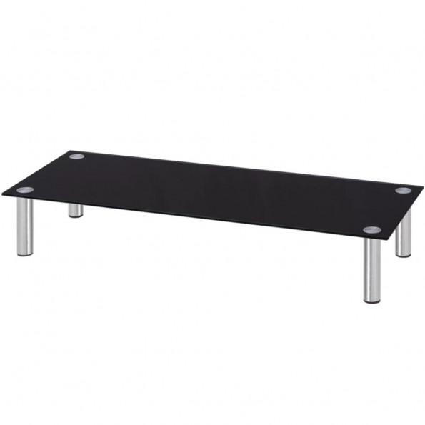 Skærmstander/TV-bord i glas 100x35x17 cm sort