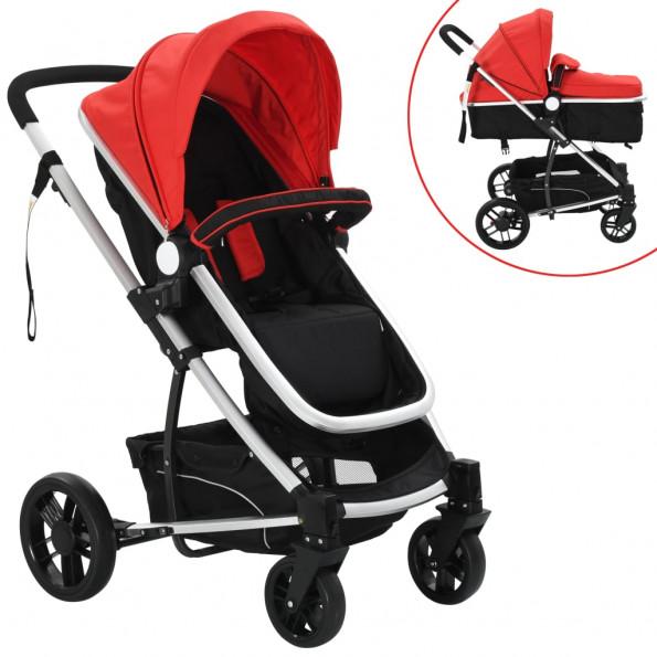 2-i-1 klapvogn/barnevogn aluminium rød og sort