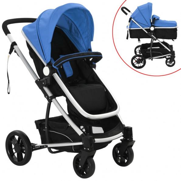 2-i-1 klapvogn/barnevogn aluminium blå og sort