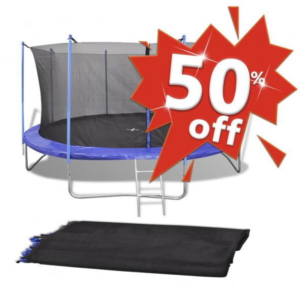 Sikkerhedset PE sort til 3,05 m rund trampolin