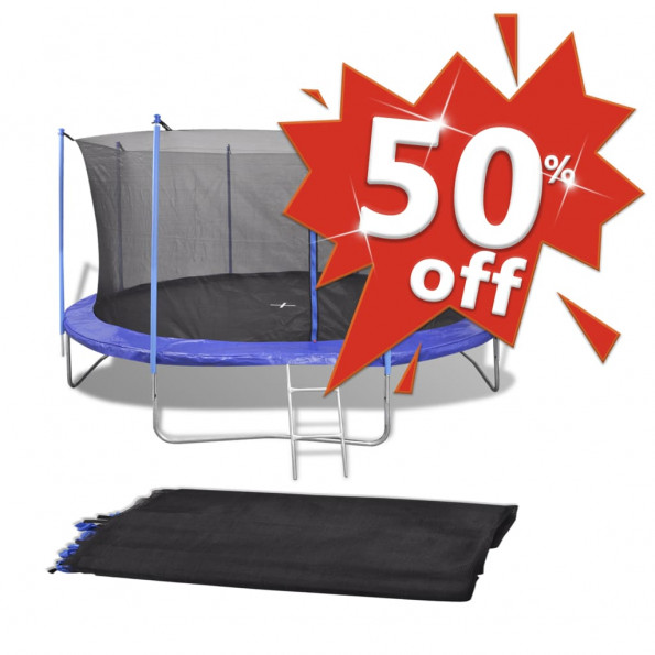 Sikkerhedsnet PE sort til 3,66 m rund trampolin