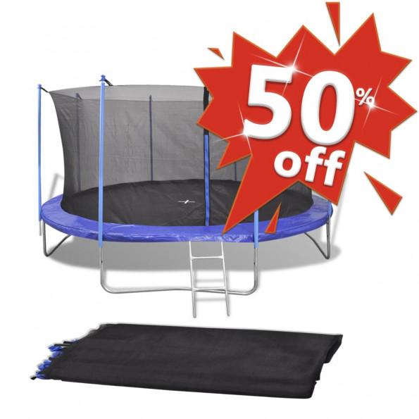 Sikkerhedsnet PE sort til 3,96 m rund trampolin